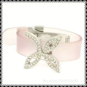 Jewelry - Stainless Steel & White Sapphire Silicone Bracelet